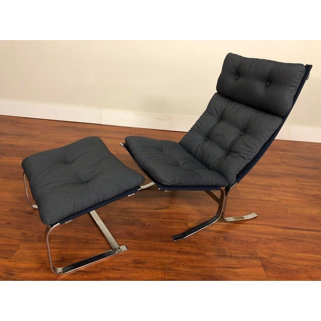 Danish Vintage Metal Lounge Chair and Ottoman Newly Upholstered For Sale - Image 11 of 11