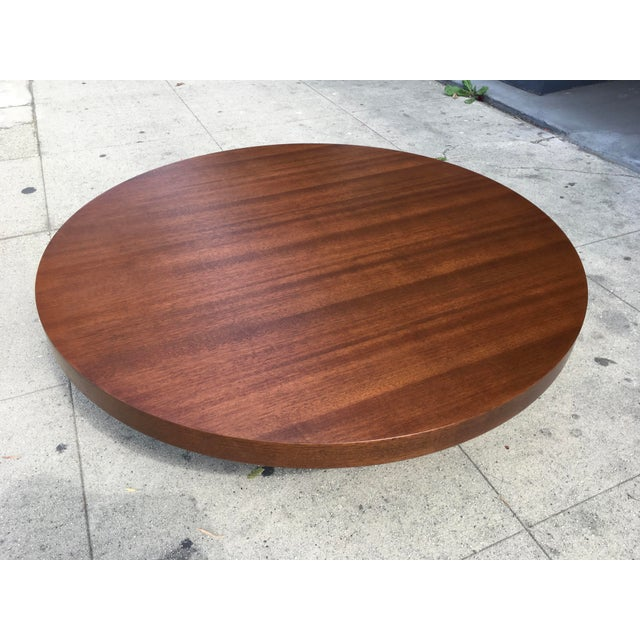 1950s Art Deco Architectural Round Mahogany Coffee Table For Sale - Image 11 of 11