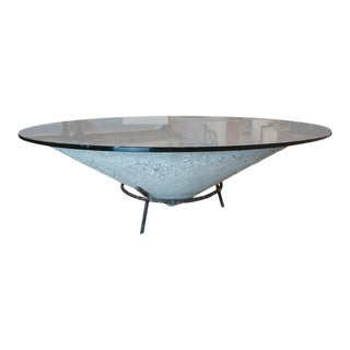 Midcentury French Garden Bowl With Iron Stand and Glass Top For Sale