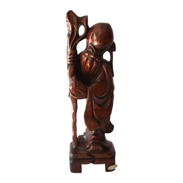 Mid-Century Wood Buddha Statue - Image 1 of 3
