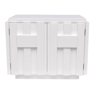 Pair of Milo Baughman for Lane Nightstands in White Lacquer, 1970s, USA For Sale