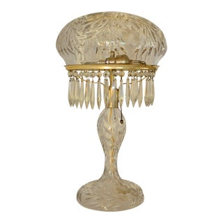 1930s Art Deco Large Cut Glass & Crystal Domed Shaded Table Lamp For Sale