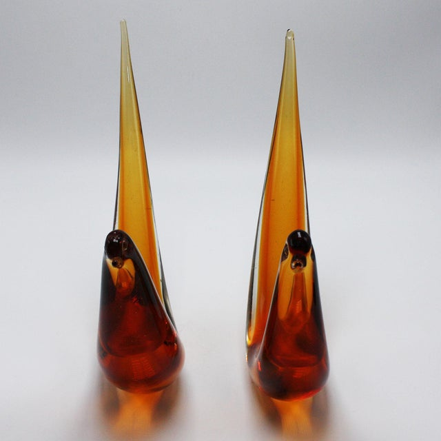 Pair of amber Murano glass abstract birds, c. 1960 $625