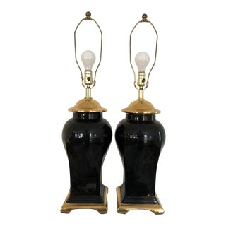 Mid 20th Century Hollywood Regency Chinoiserie Urn Lamps - a Pair For Sale