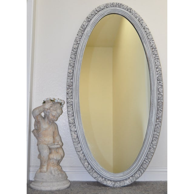 1950's Vintage French Linen Chalk Paint Mirror - Image 3 of 6