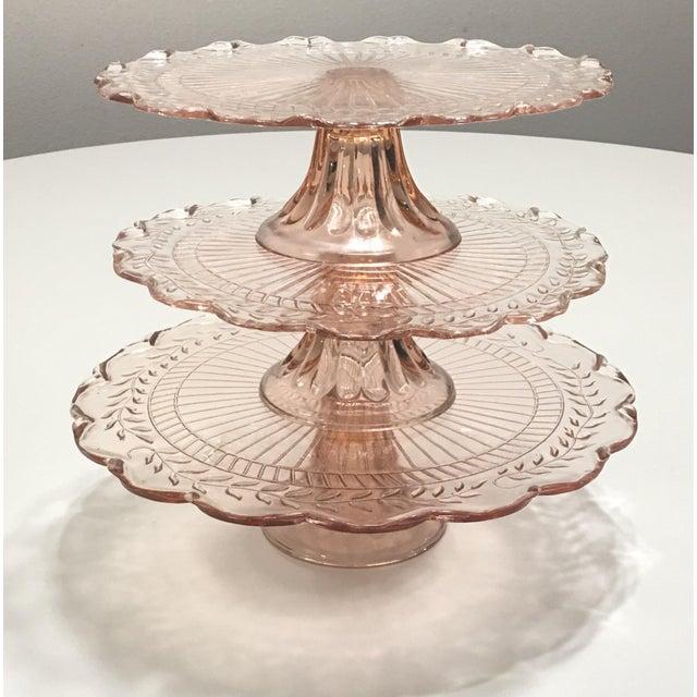 Pink Depression Glass Pedestal Cake Plates - Set of 3 - Image 2 of 8