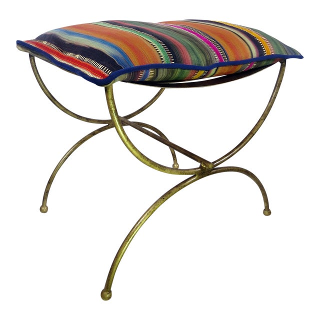 Colorful Kravet Pillow & Metal Bench - Image 1 of 5