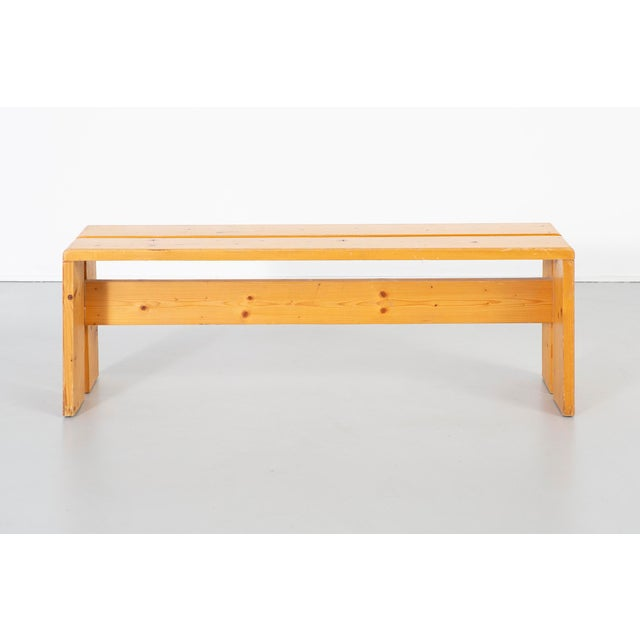 Mid-Century Modern Pair of Les Arcs Pine Benches by Charlotte Perriand For Sale - Image 3 of 13
