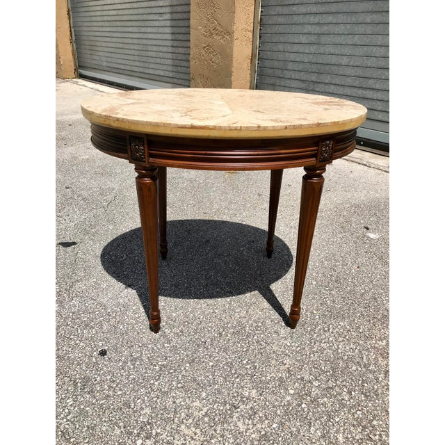 1910s French Louis XVI Marble Top Side Table For Sale - Image 10 of 13