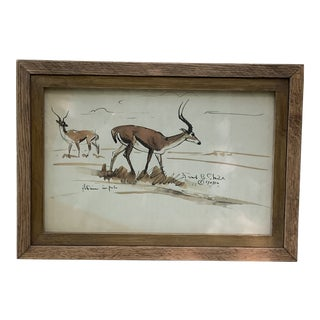 Impala Ink & Watercolor by Listed Artist Frank Sheild, Framed For Sale