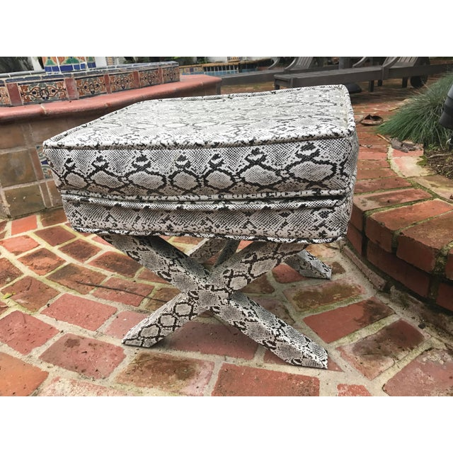 X-Frame Snake Skin Stools - A Pair - Image 3 of 7