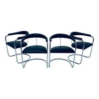 Anton Lorenz for Thonet Tubular Chrome Dining Chairs - Set of 4 For Sale