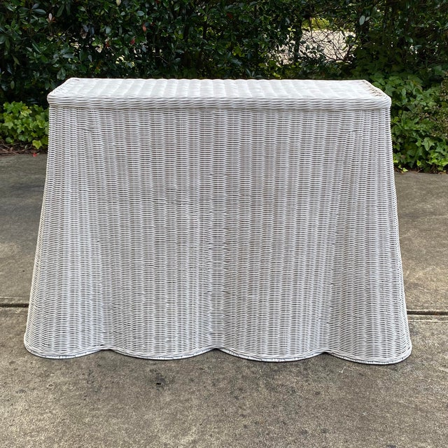 Trompe-l'Oeil Natural Rattan Console Table For Sale - Image 11 of 12