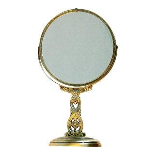 Vintage Matte Gold Vanity Mirror For Sale