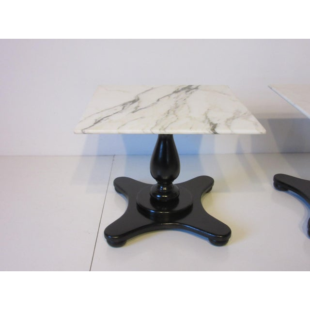 Italian Carrara Mable Top Pedestal Based Side Tables - a Pair For Sale - Image 4 of 10