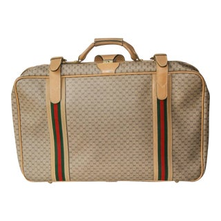 1970 Gucci Leather and Fabric Logo Suitcase With Brass Insignia