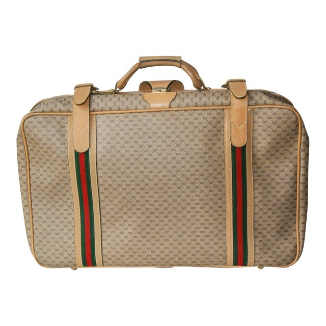 1970 Gucci Leather and Fabric Logo Suitcase With Brass Insignia For Sale