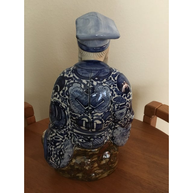 Ceramic Blue & White Chinese Emperor For Sale - Image 4 of 7