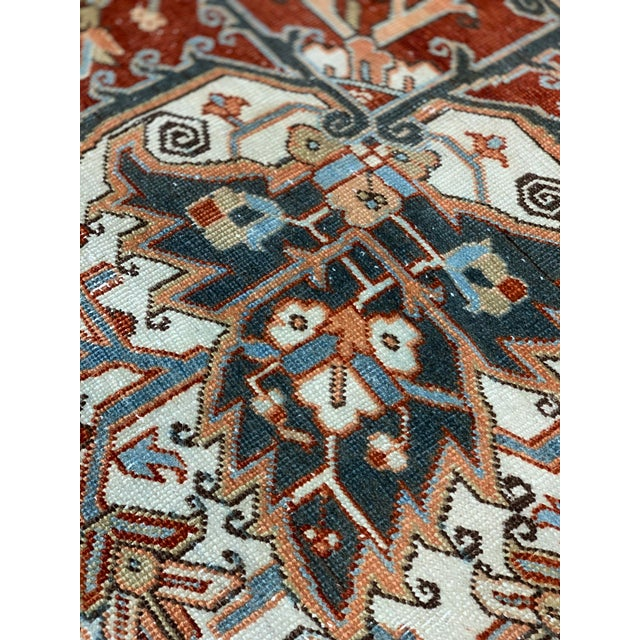 1920s Vintage Persian Heriz Area Rug - 9′5″ × 12′4″ For Sale - Image 9 of 13