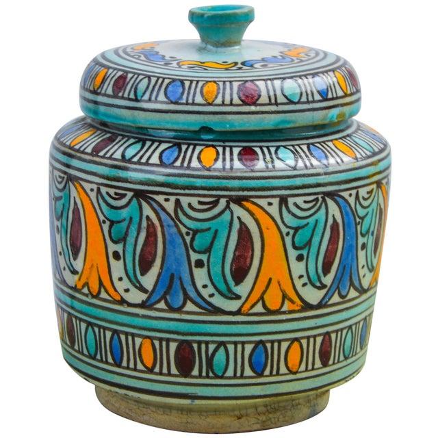 Rustic Moorish-Patterned Ceramic Lidded Jar For Sale - Image 3 of 10