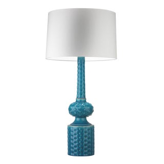 Babylon Turquoise Crackle Table Lamp For Sale