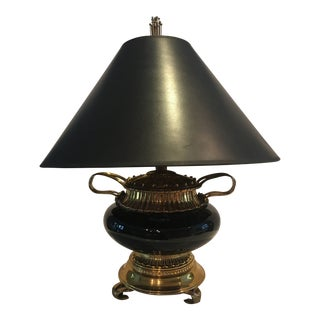 1990s Traditional Regal Chapman Brass Black Onyx Lamp For Sale