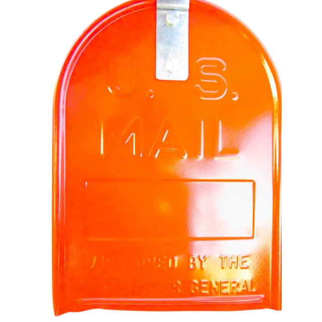Vintage Industrial Fire Orange Metal Mailbox For Sale In Los Angeles - Image 6 of 11