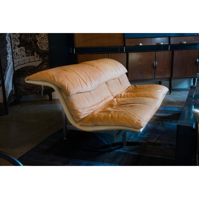 1970s Giovanni Offredi 'Wave' Leather Sofa by Saporiti, Italy For Sale - Image 5 of 8