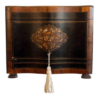 19th Century French Ebony and Rosewood Tantalus Liquor Cabinet For Sale
