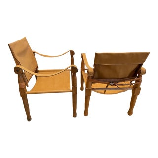 Wood and Leather Vintage Sling/Campaign Chairs From France, a Pair For Sale