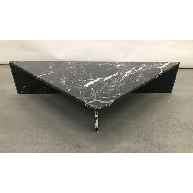 Stone 1970s Black Marble Triangular Coffee Table For Sale - Image 7 of 13