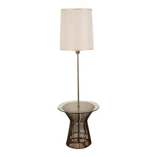 Lauren Bronze Warren Platner Style Lamp & Glass Table Combination For Sale