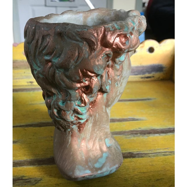 2020s Michelangelo's David Bust Copper Patina Indoor Outdoor Head Planter For Sale - Image 5 of 8