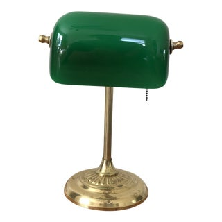 Mid-Century Modern Solid Brass Bankers Lamp For Sale