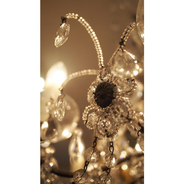 Eight Light Crystal Chandelier with Flowers on Beaded Stems For Sale - Image 10 of 10