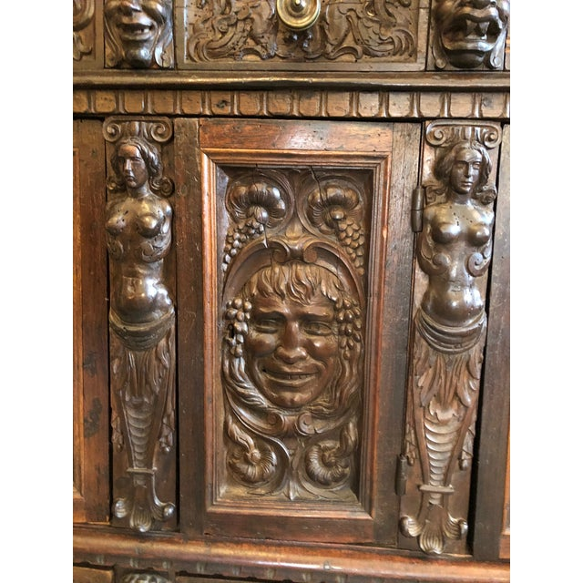 Brown 19th Century Renaissance Revival Hand Carved Cabinet For Sale - Image 8 of 13