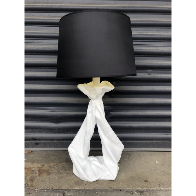 Boho Chic Vintage John Dickinson Style Knotted Draped Plaster Lamp For Sale - Image 3 of 13