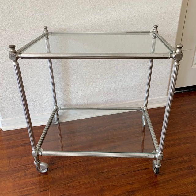 Silver Vintage Nickel Silver Metal Rolling Bar Cart For Sale - Image 8 of 11