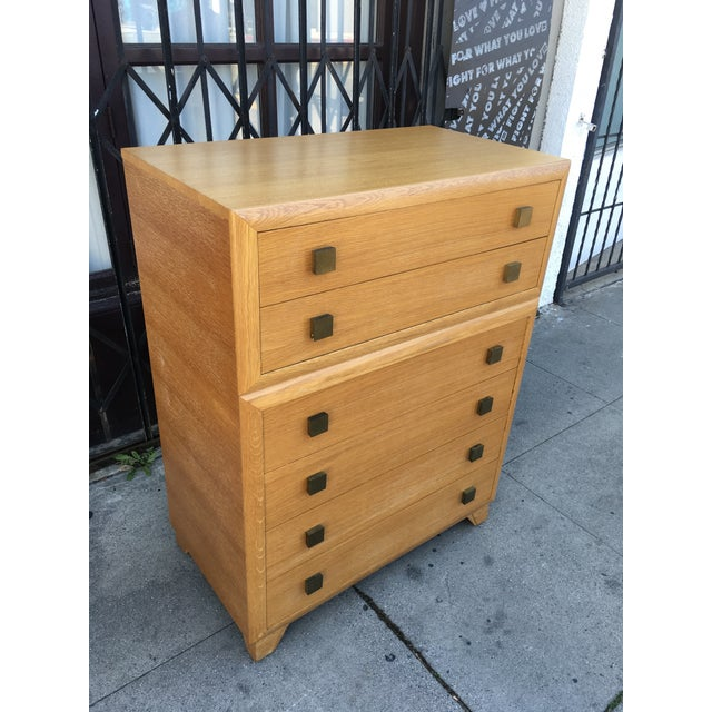 1940s Art Deco Oak Highboy Chest of Drawers For Sale - Image 4 of 13