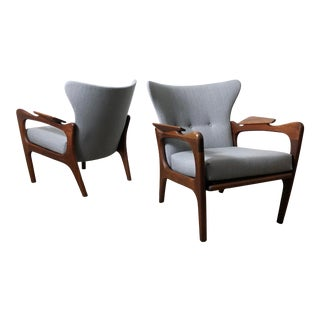 1960s Vintage Adrian Pearsall Wingback Lounge Chairs- A Pair For Sale