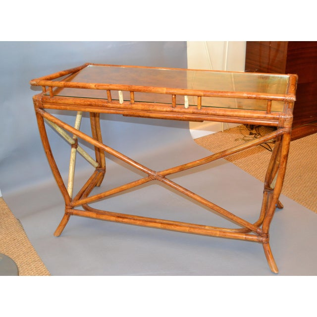 Boho Chic Vintage Handcrafted Bamboo Desk, Writing Desk With Drawer & Glass Top For Sale - Image 12 of 13
