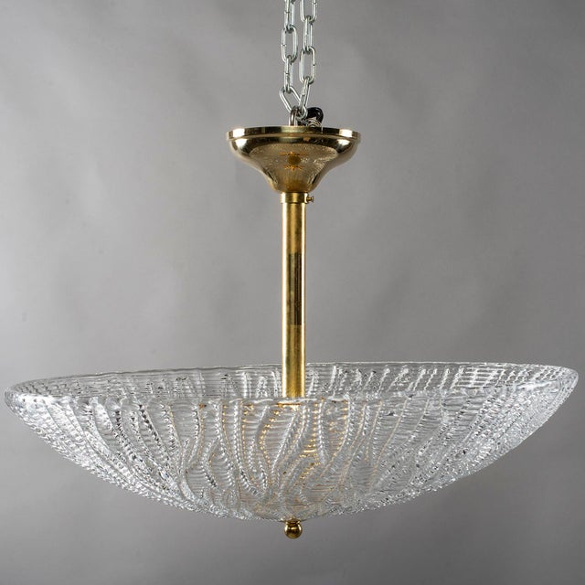 Gold Barovier and Toso Umbrella Form Fixture With Brass Fittings For Sale - Image 8 of 8
