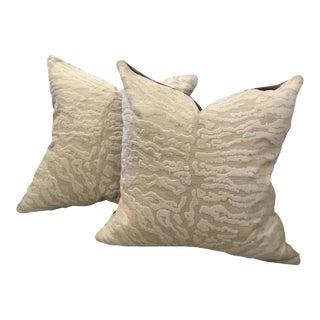 S.Harris Cream Tiger Velvet & Brown Velvet Back Pillows - a Pair For Sale