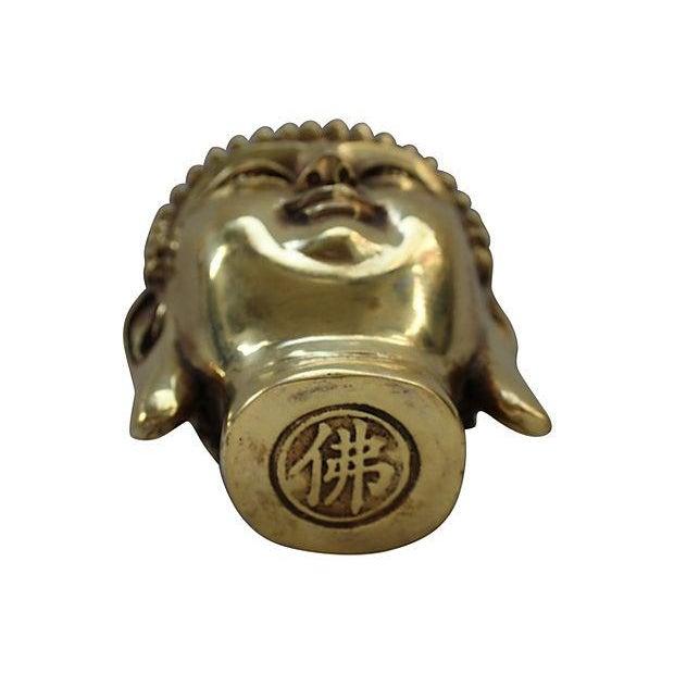 Brass Buddha Head Statue - Image 2 of 6