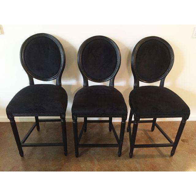 Black Velvet French Bar Stools - Set of 3 - Image 2 of 4