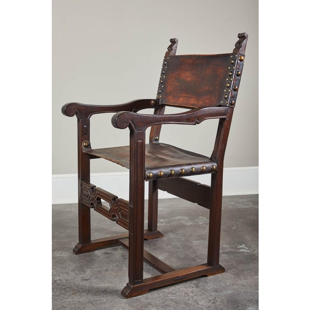 20th C. South American Armchairs W/ Leather Seat & Back - a Pair For Sale - Image 10 of 12