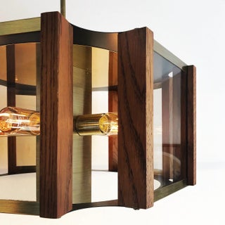 Vintage Hexagonal Brass Smoked Glass and Wood Chandelier by Fredrick Ramond Preview