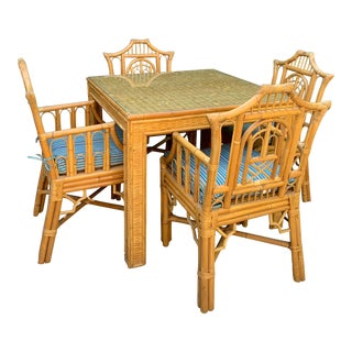 Boho Chic Bamboo Pagoda Style Dining Game Set - 5 Pieces For Sale