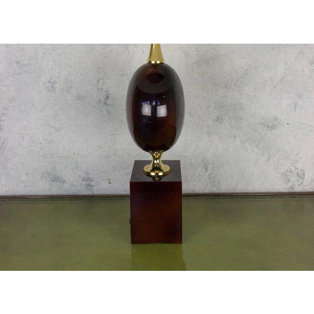 Mid-Century Modern French Aubergine Enameled Table Lamp by Maison Barbier For Sale - Image 3 of 8