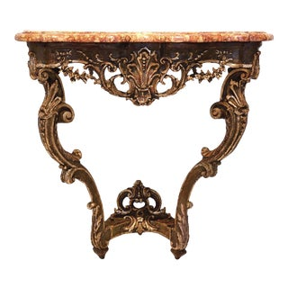 Antique Louis XV Marble Top Console Table For Sale